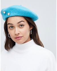 ASOS DESIGN Beret In Aqua With Heart Badges