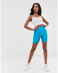 PrettyLittleThing Disco Legging Shorts In Blue