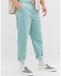 ASOS DESIGN Relaxed Cropped Trousers In Pastel Blue Cord
