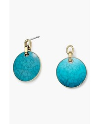 MICHAEL Michael Kors Michl Kors Modern Mix Large Disc Earrings Turquoise Gold