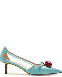 Gucci Unia Cherry Embellished Leather Pumps