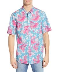 Aquamarine Floral Short Sleeve Shirt