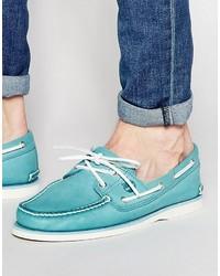Aquamarine Leather Boat Shoes