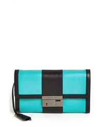 Aquamarine Leather Clutch