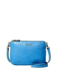 Aquamarine Leather Crossbody Bag