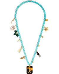 Carolina Bucci Recharmed Idea 18 Karat Gold Multi Stone Necklace Turquoise