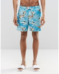 Asos Brand Swim Shorts With Floral Print In Mid Length