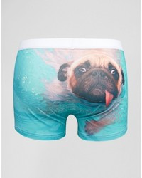 Asos Trunks With Swimming Pug Print In Microfibre