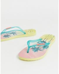 Havaianas Slim Flip Flops In Tropical Palm Print