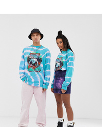 Collusion Unisex Long Sleeve Tie Dye T Shirt With Print