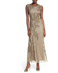 Pisarro Nights Beaded Mesh Gown