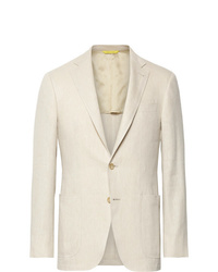 Canali Beige Kei Slim Fit Linen And Wool Blend Suit Jacket