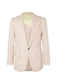 Kingsman Beige Slim Fit Linen Suit Jacket