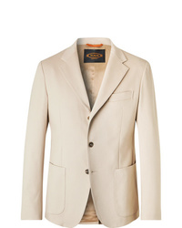 Tod's Beige Slim Fit Solaro Cotton Blend Suit Jacket