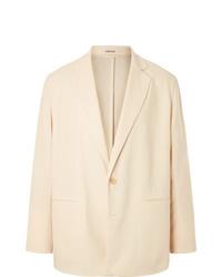 Auralee Cream Oversized Unstructured Wool Twill Suit Jacket