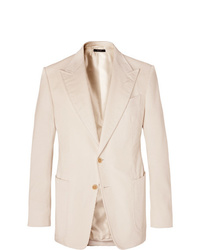 Tom Ford Cream Shelton Slim Fit Cotton And Linen Blend Corduroy Blazer