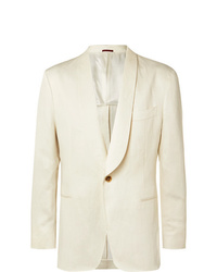 Brunello Cucinelli Cream Unstructured Linen Suit Jacket
