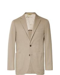 Canali Dark Beige Kei Slim Fit Stretch Cotton Twill Suit Jacket