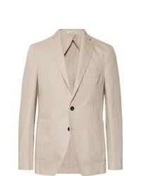 Salle Privée Sand Ross Slim Fit Unstructured Cotton And Linen Blend Twill Blazer