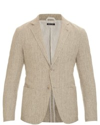 Giorgio Armani Woven Cotton And Linen Blend Blazer