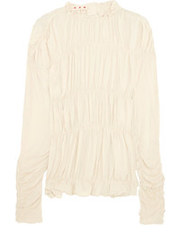 Marni Ruched Crepe De Chine Top Cream