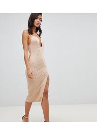 Asos Tall Asos Design Tall Deep V Bar Midi Bodycon Dress With Thigh Split In Rib Jersey