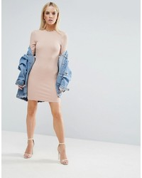 2ad9cd1a250 ... Asos Petite Petite Mini Bodycon Dress In Rib With Long Sleeves ...
