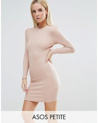 Asos Petite Petite Mini Bodycon Dress In Rib With Long Sleeves