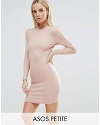 Petite petite mini bodycon dress in rib with long sleeves medium 3777120