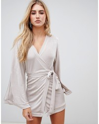 Missguided Slinky Plunge Neck Midi Dress In Silver
