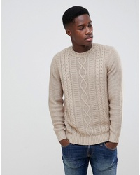 New Look Cable Knit Jumper In Beige