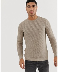 ASOS DESIGN Muscle Fit Lightweight Cable Jumper In Beige