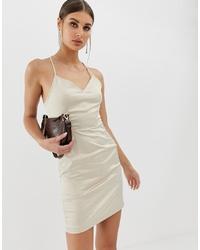 NA-KD Satin Lace Back Dress In Oyster