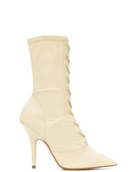 Beige Canvas Ankle Boots