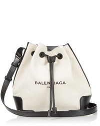 Balenciaga Canvas And Leather Bucket Bag