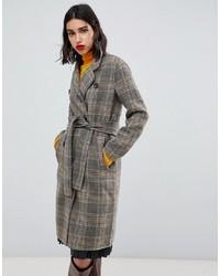 Mango Check Clean Coat In Brown