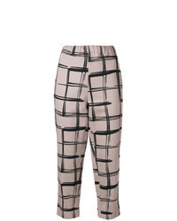 Beige Check Tapered Pants