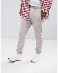 ASOS DESIGN Asos Slim Trousers With Fleece Panels In Beige