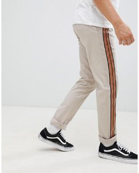 ASOS DESIGN Slim Trousers In Mushroom With Front Stripe