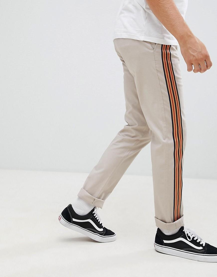 ASOS DESIGN Slim Trousers In Mushroom With Front Stripe