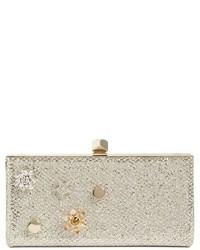 Jimmy Choo Jewelled Collection Celeste Buttons Glitter Clutch Beige