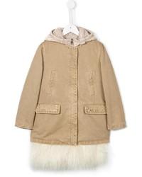 Ermanno Scervino Junior Faux Fur Detachable Gilet Coat