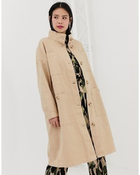 Monki Mdi Lightweight Coat With Oversized Pockets In Beige