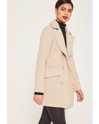 Missguided Petite Grey Short Faux Wool Military Coat