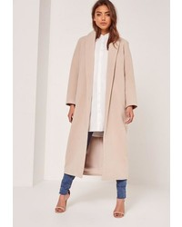 Missguided Petite Nude Shawl Collar Faux Wool Maxi Coat