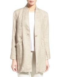 Eileen Fisher Organic Linen High Collar Coat