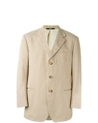 Gianfranco Ferre Vintage Button Blazer Nude Neutrals