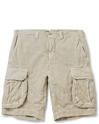 Incotex Washed Cotton And Linen Blend Cargo Shorts