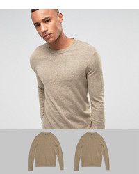 Asos 2 Pack Cotton Sweater In Oatmeal Save