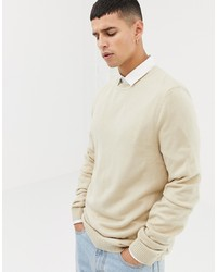 ASOS DESIGN Asos Crew Neck Jumper In Oatmeal